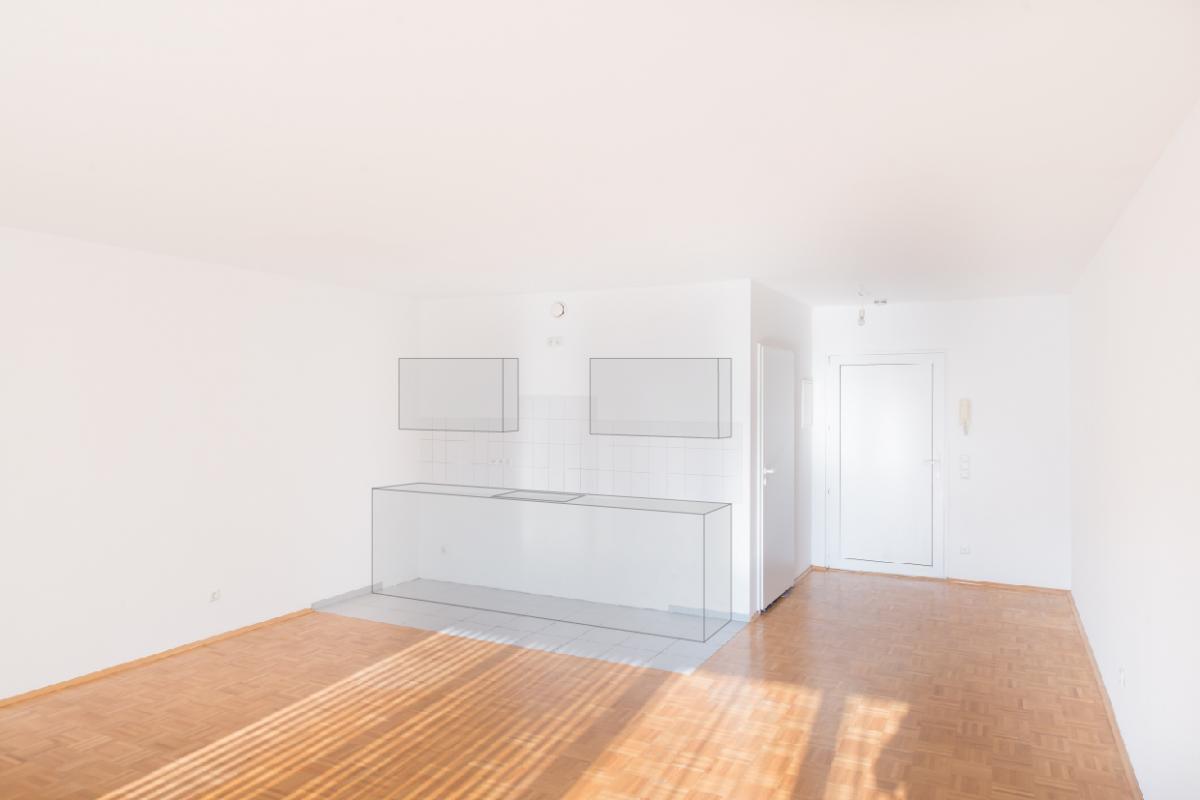 Wohnung 58m² + angedeutete Küche